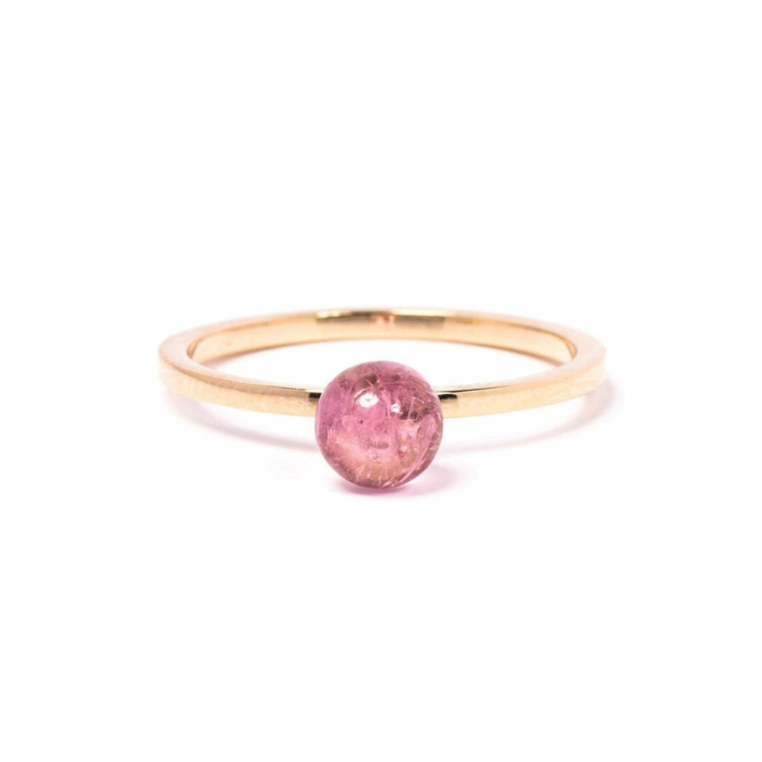 Gold & Pink Tourmaline Satellite Ring