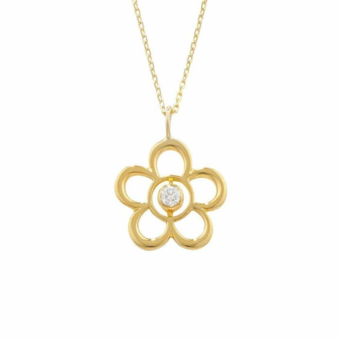 Blossom Birthstone Yellow Gold Diamond Pendant