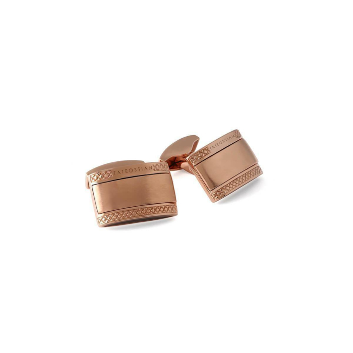 The Signature Rectangle Cufflinks in Rose Gold Plating