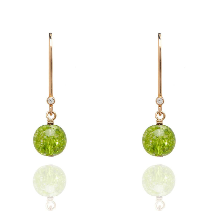 18kt Gold Drop Earrings In Peridot - August Birthstone