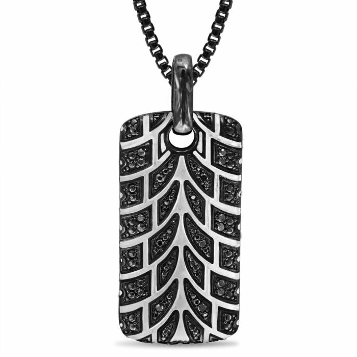 Rhodium Plated Silver & Black Diamond Pro Rider Tire Tread Tag