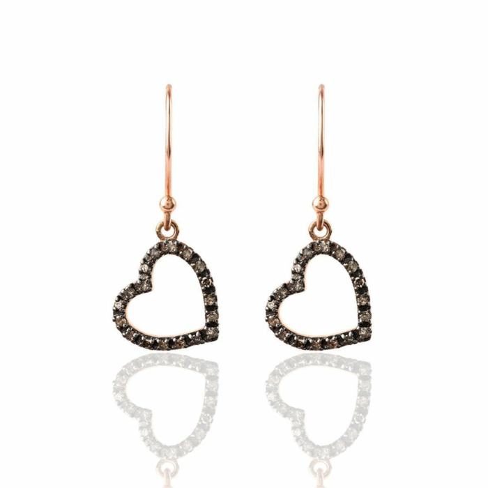 Diamond Open Heart Drop Earring
