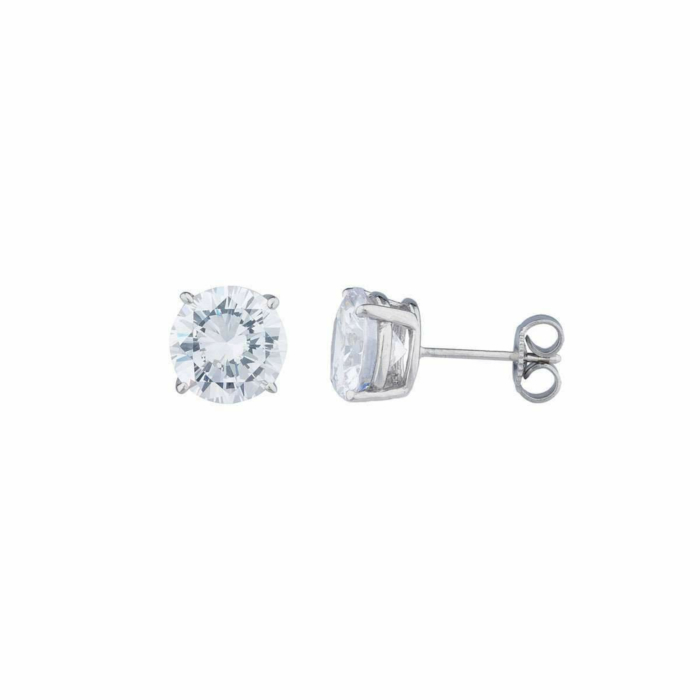 14kt White Gold 5ct Round Stud Earrings