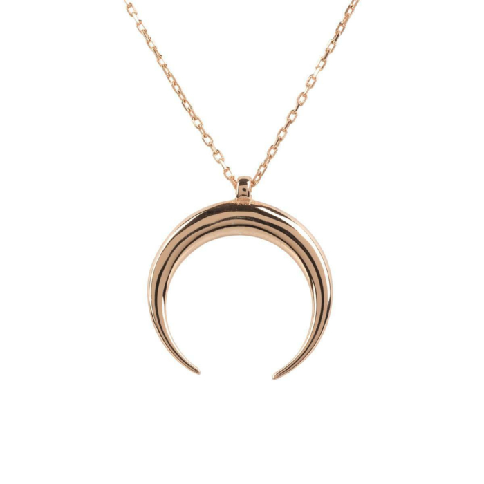 Rose Gold Plated Silver Cosmic Horn Tusk Necklace