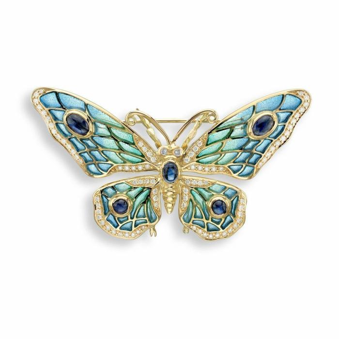 18kt Gold Butterfly Blue Brooch