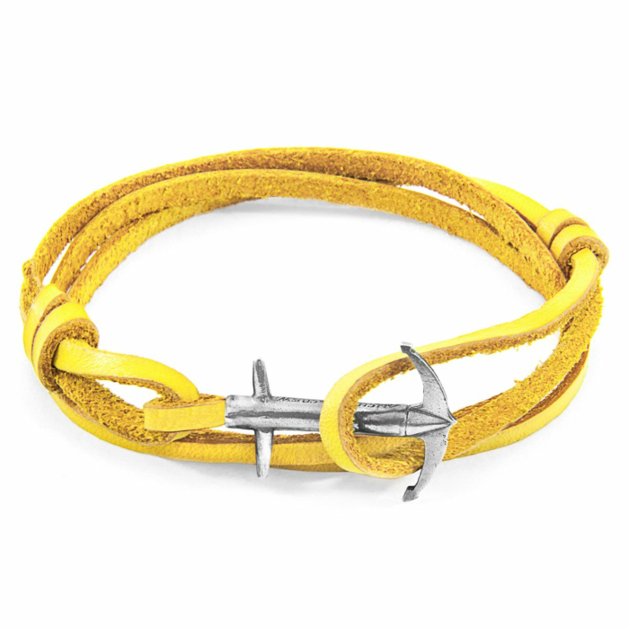 Mustard Yellow Admiral Anchor Silver and Flat Leather Bracelet