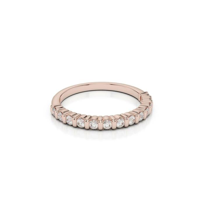 18kt Rose Gold Half Eternity Ring With Round-Cut, Bar-Set Diamonds