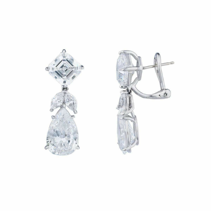 Sterling Silver & Palladium 18kt Asscher & Pearshape Drop Earrings