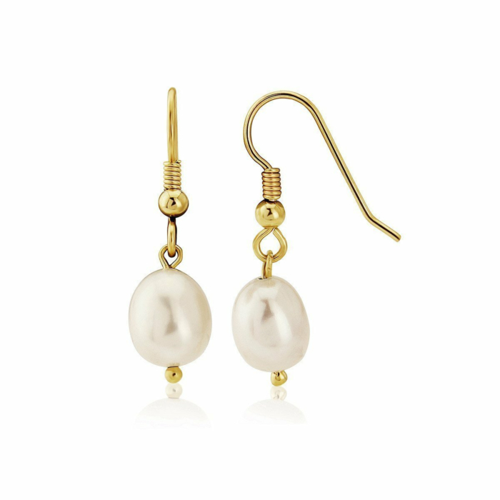 9kt Gold & Large White Pearl Drop Earrings