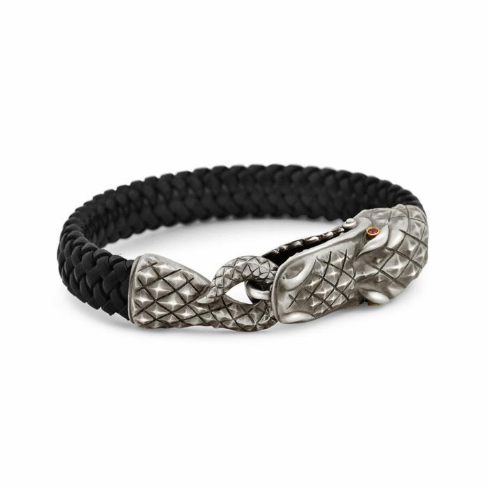 Sterling Silver & Ruby Alligator Bracelet | Snake Bones