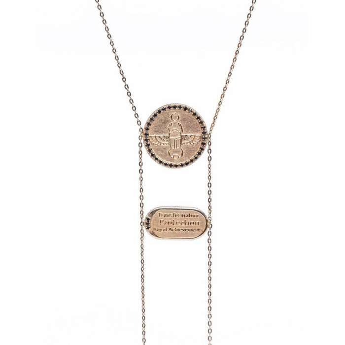 Scarab Necklace With Black Diamonds