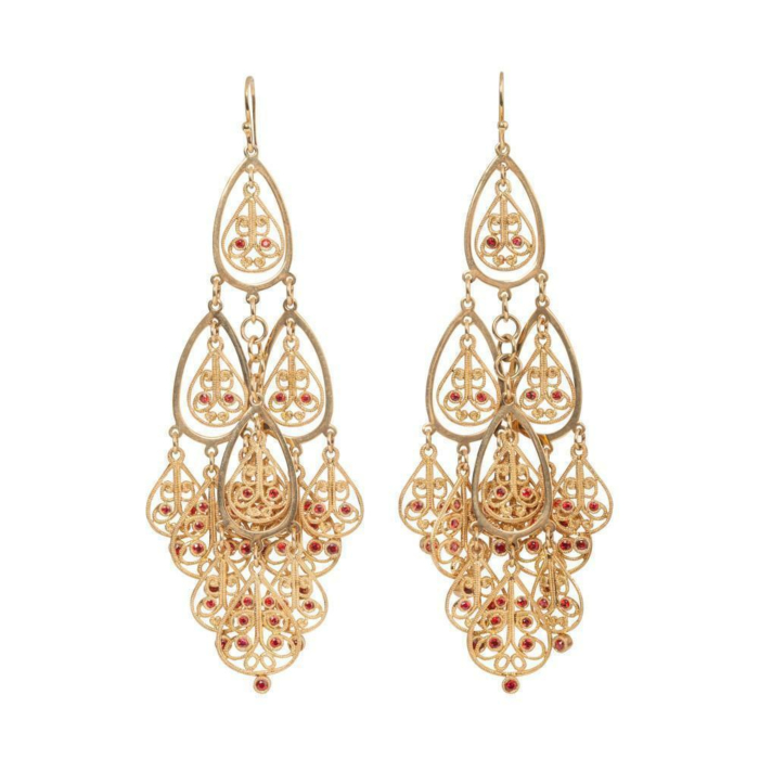 18kt Yellow Gold Orange Sapphire Shalimar Earrings