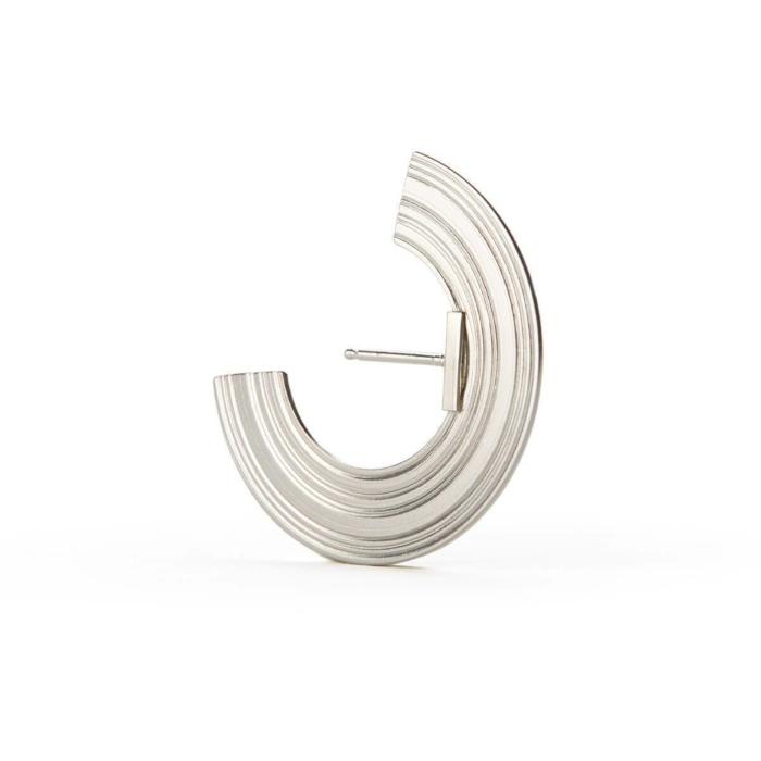 Sterling Silver Orbit Wide Radius Lobe Earrings