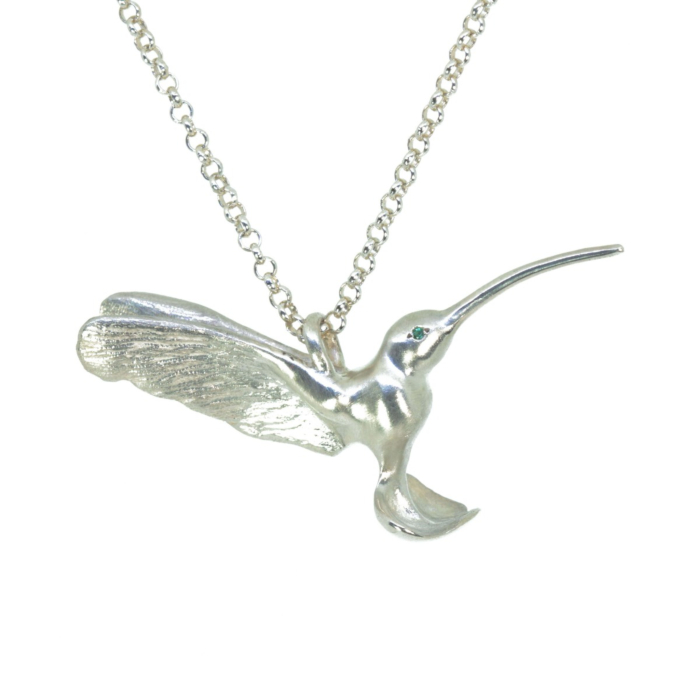 Sterling Silver Hummingbird Pendant with Emerald