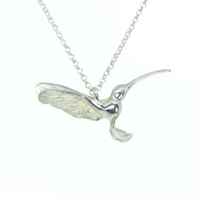 Sterling Silver Hummingbird Pendant with Diamond