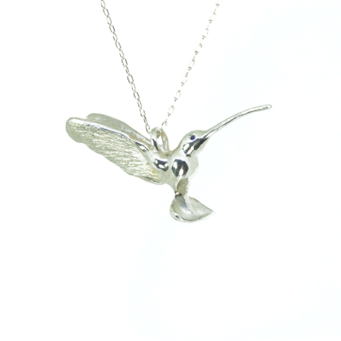 Sterling Silver Hummingbird Pendant with Sapphire