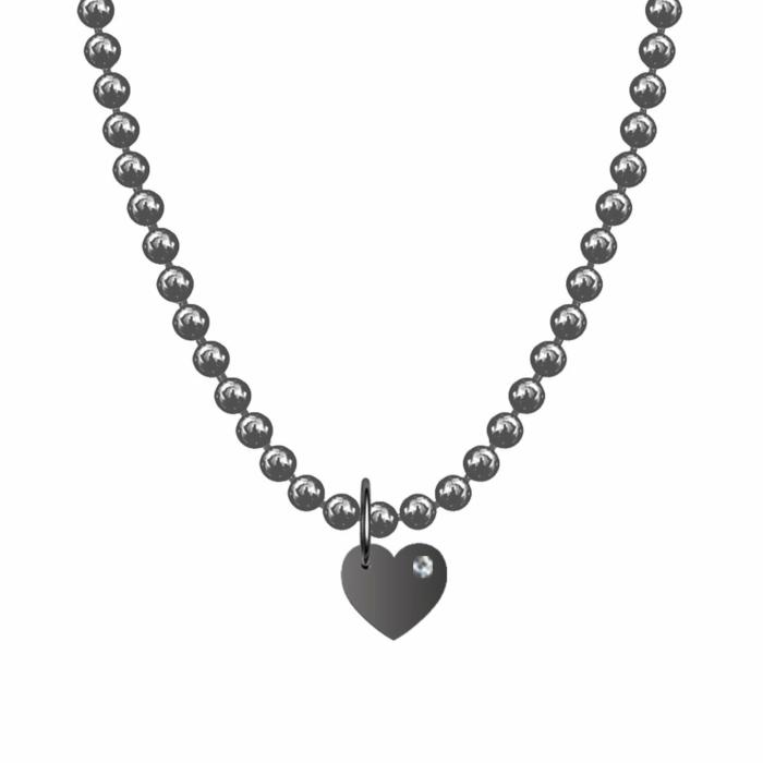 Alphallumer Necklace - Black Rhodium Plated Diamond Heart