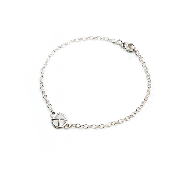 Sterling Silver Kiss Hug One Small Component Bracelet