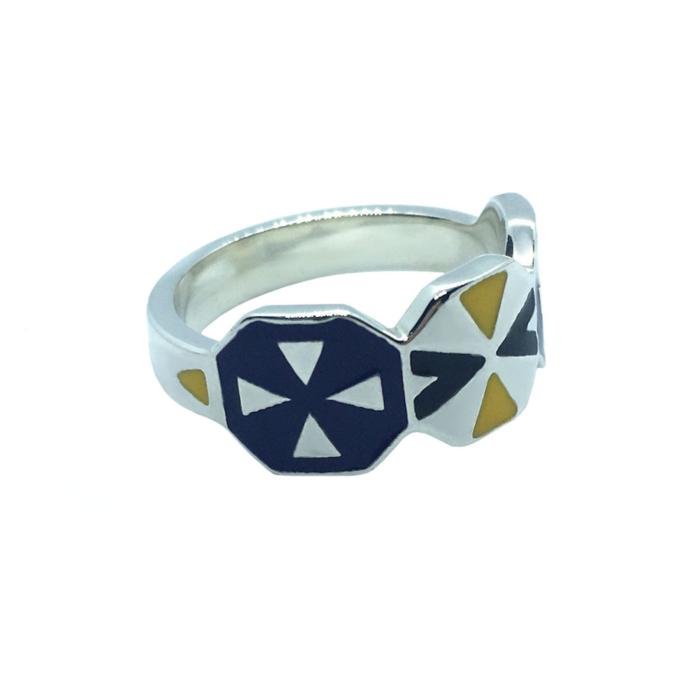 Kune Silver Octagon Enamel Ring