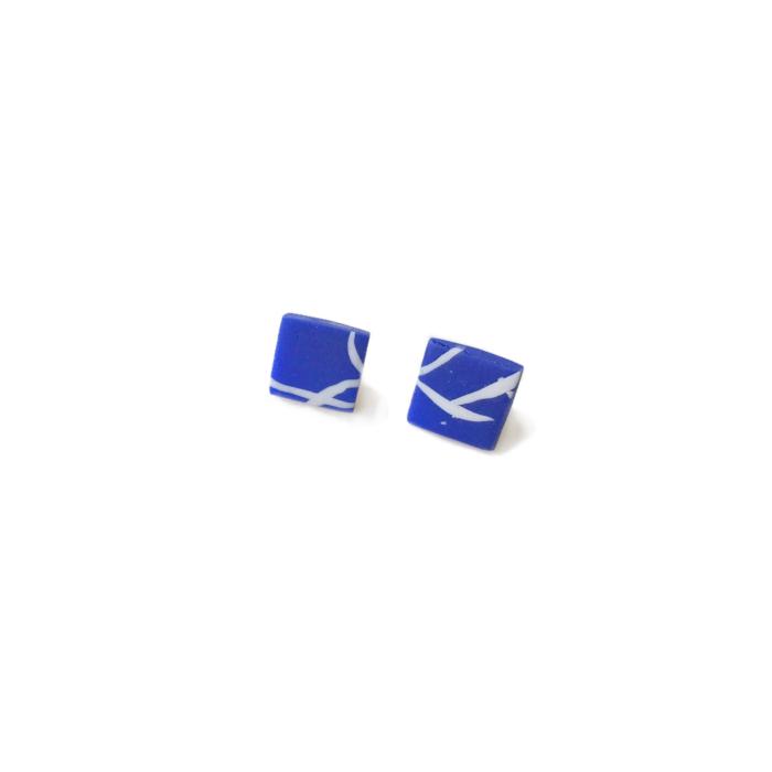 Stainless Steel Blue & White Twig Inspired Stud Earrings