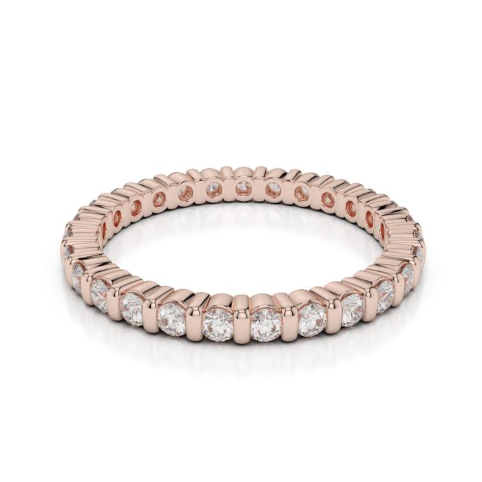 18kt Rose Gold Full Eternity Ring With Round-Cut, Bar-Set Diamonds I
