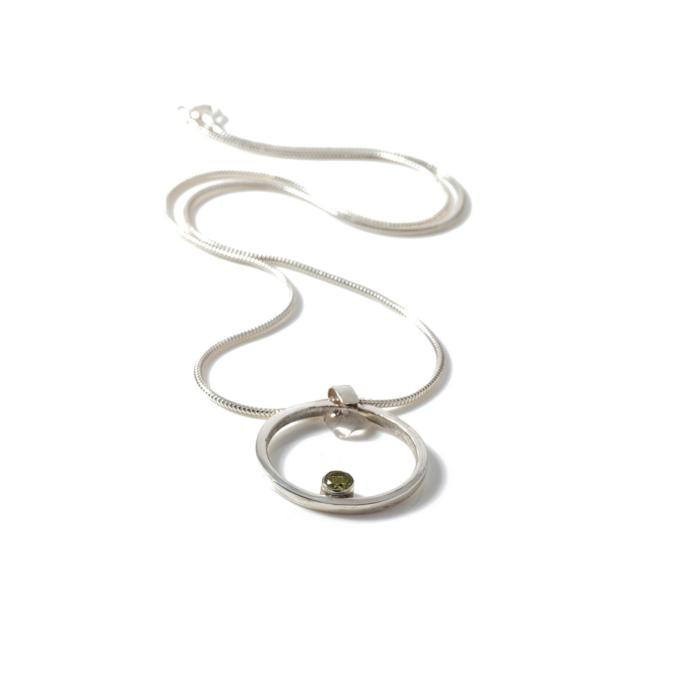 Sterling Silver & Gemstone Round Necklace