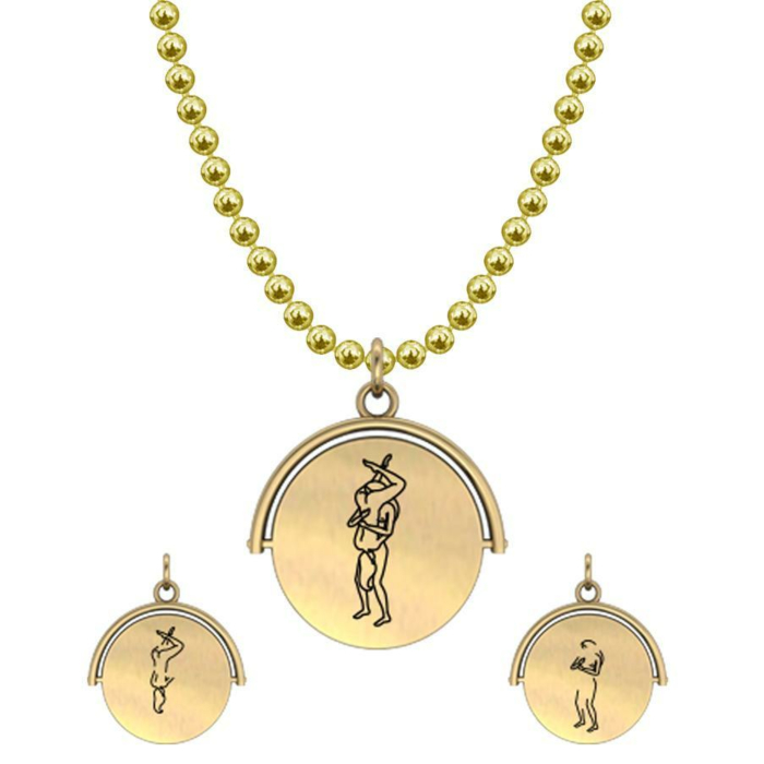Allumersutra 13MM Gold Pendant Necklace - Girl And Girl - The 69