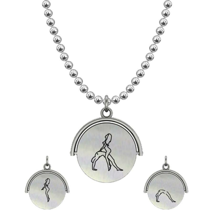Allumersutra 13MM Silver Pendant Necklace - Girl And Boy - The Bridge