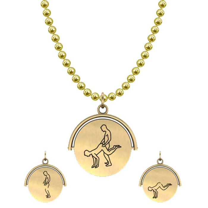 Allumersutra 13MM Gold Pendant Necklace - Boy And Boy - The Plough