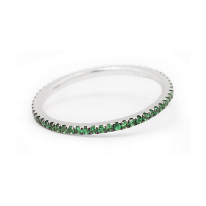 18kt White Gold Caresse Tsavorite Garnet Eternity Ring