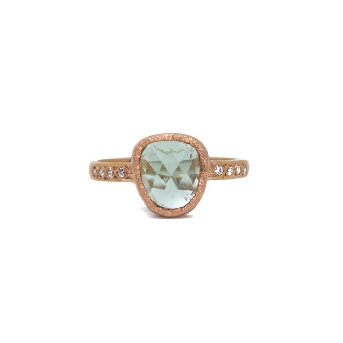 Vivien Frank Rose Gold 14k Green Tourmaline Ring