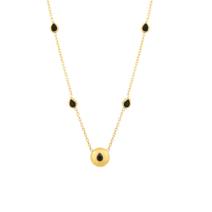18kt Gold Plated Silver & Black Spinel Signature Melissa Necklace