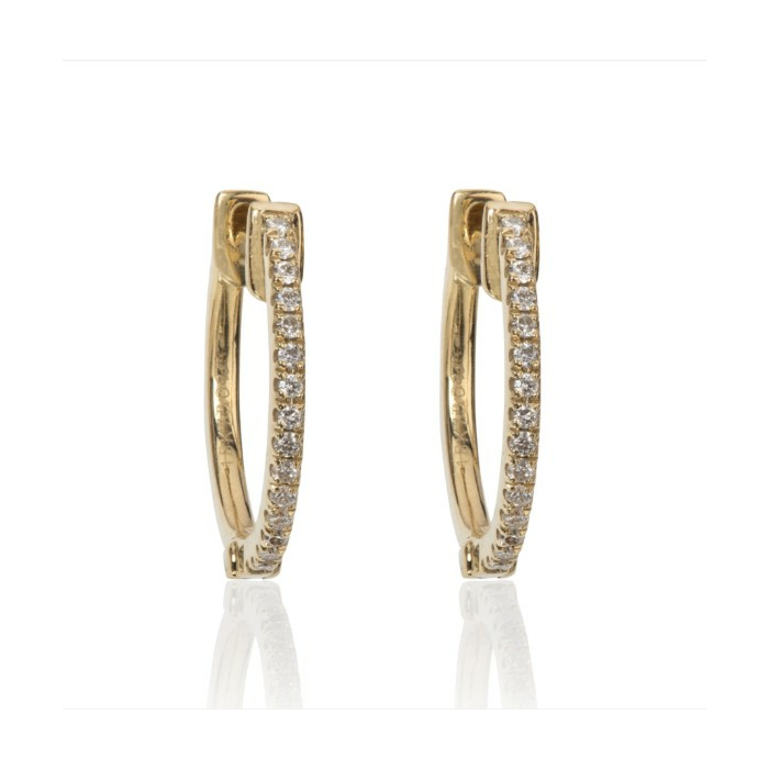 18kt Yellow Gold Caress Huggies Earrings With Diamonds