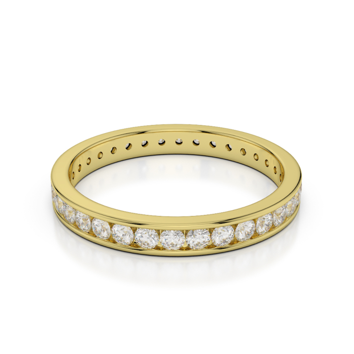 18kt Yellow Gold Full Eternity Ring With Round-Cut, Channel-Set Diamonds