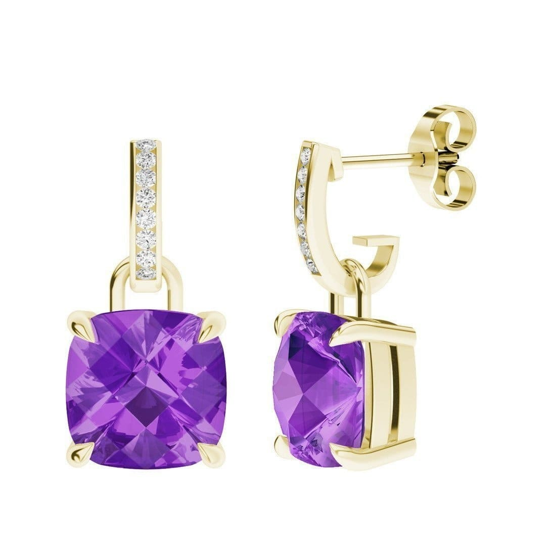 Amethyst 9kt Yellow Gold And Diamond Drop Earrings