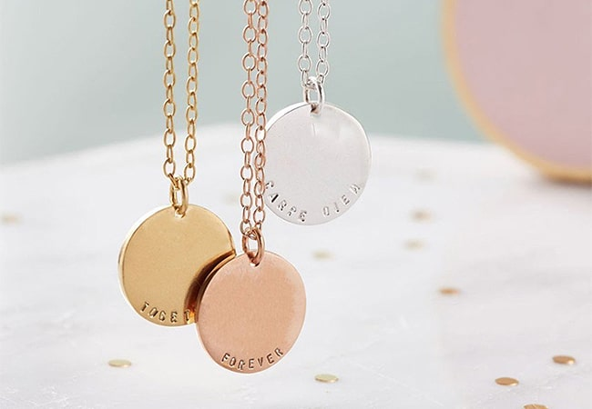 Engraved jewellery gifts for Christmas