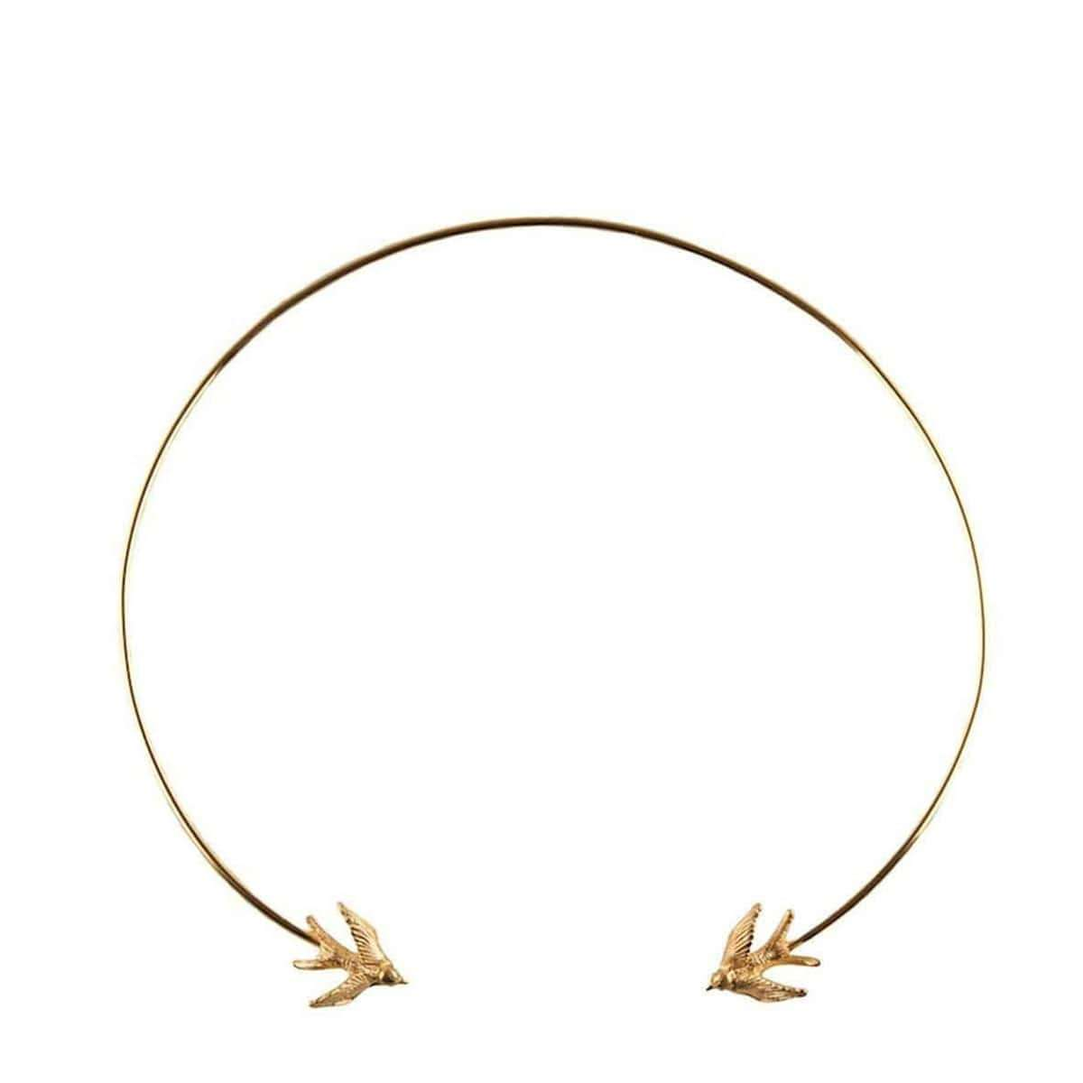 Gold Swallow Torc Necklace, Roz Buehrlen
