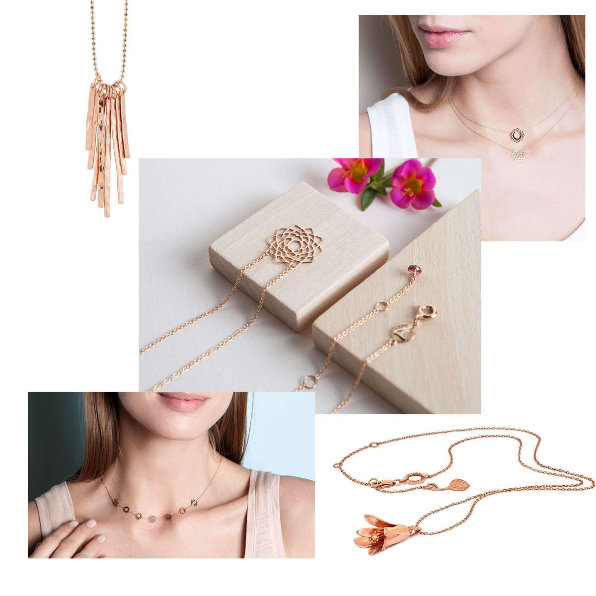 A selection of Rose Gold Necklaces from JewelStreet